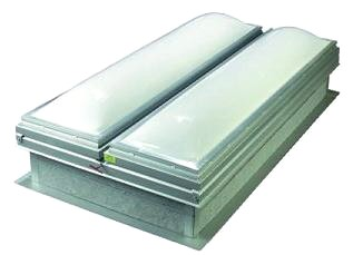 48 X 96 Roof Smoke Vent With Domed Skylight, UL - 48 x 96 Inch Roof Smoke Vent / Fire Vent with Dual Acrylic Domed Skylight Doors, 14 Gauge Galvanized Steel Frame and Curb Mount, UL Listed. Price/Each. (special order, leadtime 3-5 weeks)