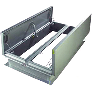 48 x 72 in. Roof Smoke Vent, Dual Alum Doors, UL Approved - Roof Smoke Vent / Fire Vent, 4x6 feet (48x72 inch inside opening). Features Dual Aluminum Doors, Galvanized Steel Curb Mount, Insulated, 165ºF Fusible Links, UL Approved. Made in USA by JL. Price/Each. (special order; leadtime 3-5 weeks; not returnable)
