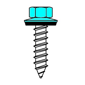 #14 X 1 HWH Stainless Screw, A-Point, NEO, PAINTED (250) - #14 X 1 inch TYPE 304 STAINLESS STEEL 3/8 HWH SCREW, TYPE-A POINT, STAINLESS EPDM BONDED WASHER, PAINTED TOP. 250/Bag. Price/Bag. (SFS #E0600-HP/529077; NOT RETURNABLE, Specify Color Name and # before adding to cart; leadtime 4-7 days)