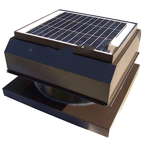 Solar Attic Fan, Curb Base, 25W w/therm., Painted - SELF CONTAINED SOLAR POWERED ATTIC VENTILATOR FAN KIT, CURB BASE, 1550 CFM, 25 WATT WITH THERMOSTAT. PAINTED FINISH. LIFETIME WARRANTY. PRICE/KIT.