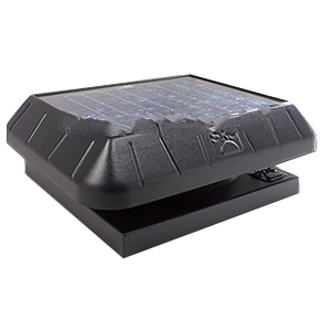 Solar Powered Attic Fan, Curb Base, 30W Solar Panel,  w/Thermostat - Solar Powered Attic Ventilator Fan. Curb Base Fan With Attached Solar Panel, For Attic Areas Up to 2000 Sq. Ft, 30 Watt, With Fixed Thermostat. Price/Kit.