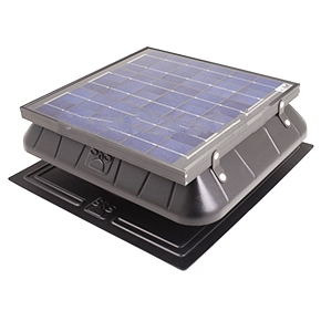 Solar Powered Attic Fan, Flat Base, 30W Solar Panel,  w/Thermostat - Sunrise Solar #FB1600FT, Solar Powered Attic Ventilator Fan. Flat Base Fan with Attached Solar Panel, for attic areas up to 2000 Sq. Ft, 30 Watt, with Fixed Thermostat. Price/Kit.
