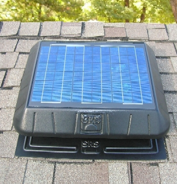 Solar Powered Attic Fan, Flat Base, 20W 1250 CFM w/  Thermostat - SELF CONTAINED 1250 CFM, FLAT BASE SELF FLASHING DESIGN, 20 Watt, SOLAR POWERED ATTIC VENTILATOR FAN KIT WITH THERMOSTAT. PRICE/KIT.