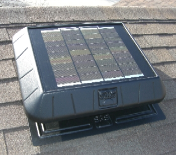 Solar Powered Attic Fan, Flat Base, 11W 850 CFM w/ Thermostat - SELF CONTAINED SOLAR POWERED ATTIC VENTILATOR FAN KIT, SELF FLASHING FLAT BASE, 850 CFM, 11 WATT WITH THERMOSTAT. QUIET VIBRATION-FREE OPERATION.