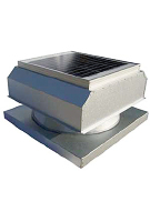 Solar Attic Fan, Curb Base, 25W w/therm., Galv
