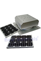 Solar Attic Fan, Flat Self-Flashing Base, 40W Panel, Natural Zincalume Finish