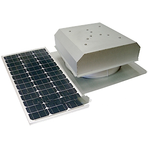 Solar Attic Fan, Flat Self-Flashing Base, 60W Panel, Zincalume Finish - Attic Breeze AB601 Grande, Commercial Size Solar Powered Ventilation Kit. 28x28 inch Flat Self-Flashing Base, 2050 CFM 60-Watt Solar Panel, Stainless Steel Hardware. Natural Zincalume Finish. 25-Year Mfg. Warranty. Price/Kit.