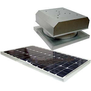 Solar Attic Fan, Curb Base, 60W Panel, Natural Zincalume Finish - Attic Breeze AB603 Grande, Commercial Size Solar Powered Ventilation Kit. 24x24 inch Curb-mount Base, 2050 CFM 60-Watt Solar Panel, Stainless Steel Hardware. Natural Zincalume Finish. 25-Year Mfg. Warranty. Price/Kit.