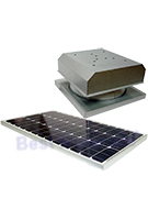 Solar Attic Fan, Curb Base, 60W Panel, Natural Zincalume Finish
