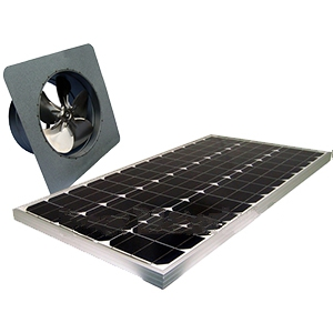 Solar Attic Fan, Gable Mount, 60W Panel, Natural Zincalume Finish - Attic Breeze AB605 Grande, Commercial Size Solar Powered Ventilation Kit. 21.5 x 21.5 inch Gable-mount Base, 2050 CFM 60-Watt Solar Panel, Stainless Steel Hardware. Natural Zincalume Finish. 25-Year Mfg. Warranty. Price/Kit.