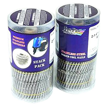 1-1/2 in. Stainless Coil Siding Nail, Ring Shank, 3000 - 1-1/2 x .093 Coil Siding Nail, Ring Shank, 304 Stainless Steel, 15 degree, Wire Collated, FRH, 300 Nails/Coil, 5 Coils/Stack Pack, 2 Stack Packs/Box (3000 nails total). Price/Box. (can ship in Medium Size US Priority Mail Box)