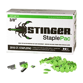 Stinger 3/8 in. Staple Pac - NATIONAL NAILS #136420 STAPLE PACK, 3/8 in. A-11 STINGER STAPLE PACK (STAPLEPAC) FOR CH38 / CH38A. Contains 2016 staples  and 2000 1 in. diameter plastic caps. Price/Pack. (6 packs/carton; order full cartons for further discount)
