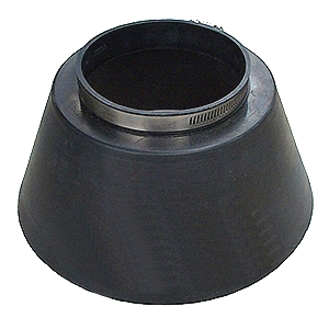 Large Pipe Flashing / Storm Collar, 4 inch (4.5 ID) - ASI # 701193, 4-inch Conduit Pipe Flashing / Rain / Storm Collar. 4.5 inch ID fits 4-inch NOMINAL size pipes. 9 inch wide base x 4.7 high Heavy-Duty 0.24 inch thick Black EPDM. Includes Stainless Steel Pipe Clamp. Price/Each.