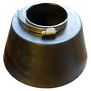 Large Pipe Flashing / Storm Collar, 3-inch (3.5 ID) - ASI # 701162, 3-inch Conduit Pipe Flashing / Rain / Storm Collar. 3.5 inch ID fits 3-inch NOMIMAL size pipes. 9 inch wide base x 4.7 high Heavy-Duty 0.24 inch thick Black EPDM. Includes Stainless Steel Pipe Clamp. Price/Each.