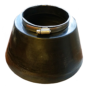 Conduit Pipe Flashing / Storm Collar, 2-inch (2.34 ID) - ASI # 700882, 2-inch Conduit Pipe Flashing / Rain / Storm Collar. Heavy-Duty 0.24 inch thick Black EPDM. 2.34 inch ID fits 2-inch NOMIMAL size pipes. Base is 5 wide x 3.3 inches high. Includes Stainless Steel Pipe Clamp. Price/Each.