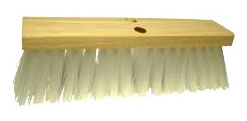 16 in. Street Broom, White Plastic Bristle, Head Only (1) - 16 inch Wide Stiff Street / Roof Broom (head only). Stiff White 4 inch Plastic Bristles Set in a quality Wood Head. Outperforms and Outlasts Others. Price/Each.