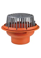 15 inch diameter Roof Drain, Cast Iron Body, Poly Dome, 8 inch No-Hub Outlet