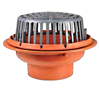 15 inch diameter Roof Drain, Cast Iron Body, Poly Dome, 4 inch No-Hub Outlet - Sun RD4004 Main Roof Drain, 15 inch Diameter, Epoxy Coated Cast Iron Body, Combo Membrane Clamp / Gravel Guard, Low Profile 4.5 x 11 inch Poly Dome, 105 sq.in. Drain Area. 4-inch No-Hub Outlet. Price/Each. (ship leadtime 1-3 business days)
