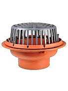 15 inch diameter Roof Drain, Cast Iron Body, Poly Dome, 4 inch No-Hub Outlet