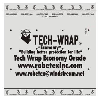 Tech-Wrap 150 ECONOMY Synthetic Underlayment, 10 sq  (4x250 ft.) - Tech-Wrap 150 ECONOMY, Polypropylene Roofing Underlayment. 4x250 foot roll (10 SQ). Class-A Fire Rated, 1 month UV Rated. Price/Roll. (56 rolls/pallet; 1-2 week shipping leadtime)