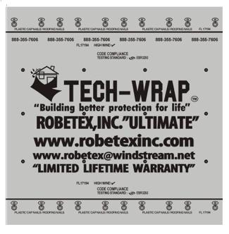 Tech Wrap Ultimate Synthetic Underlayment, 10 sq. Roll (4x250 ft.) - Tech-Wrap Ultimate (UL), Polypropylene Roofing Underlayment. 4x250 foot Roll (10 SQ). Class-A Fire Rated. Price/Roll. (leadtime 4-8 days; 36 rolls/pallet, special freight available on pallets)