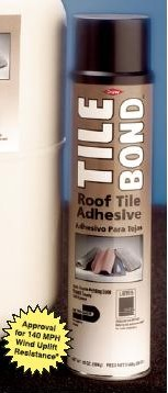 DOW #308941 TILE BOND ROOF TILE ADHESIVE (28 oz. can) - Dow #308941, TILE BOND™ Roof Tile Adhesive, 28 oz can. An aerosol dispensed polyurethane adhesive for attachment insullation board or clay roof tiles. Meets Metro-Dade and South Florida Building Codes. 12 Cans/Case. Price/Case.