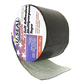 U.Seal 9 in. x 33 ft. CHARCOAL COLOR Roof Tape (1) - U.SEAL (U-Seal) CHARCOAL COLOR ALUMINUM FACED, PEEL/STICK ROOF FLASHING & RIDGE CLOSURE TAPE, 9 INCHES WIDE x 33 FT. LONG x 60 MIL THICK. PRICE/ROLL.PRICE/ROLL. (do not use on PVC or EPDM; aka # 159439; shipping leadtime 1-3 business days)