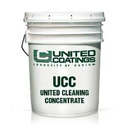United Cleaning Concentrate, Roof Coating Precleaner (1G) - United Cleaning Concentrate (UCC). Roof Coating Pre-Cleaner in Concentrate Form. 100% Biodegrade, Non-Toxic, Non-Flammable. Concentrate mixes with water and makes 10 gallons of cleaner to clean 1500 to 2000 sqft. area. 1-Gallon Pail. Price/Pail.