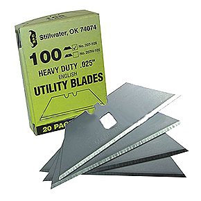 Heavy-Duty Straight Carbon-Steel Utility Razor Blades (100 pack) - 100 Pack Box of Heavy-Duty Carbon-Steel 2-1//2 inch Straight Utility Blades with Hole. Box Contains 20 packets of 5 blades per packet. Price/Box.