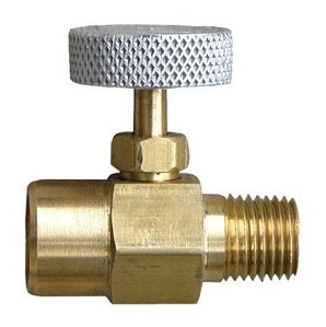 Propane Torch Flame Adjusting Needle Valve, 1/4 FNPT/MNPT - Propane Flame Adjusting and Shut Off Valve / Needle Valve, 1/4 MNPT x 1/4 FNPT. Made of all Brass with Aluminum Knob. Price/Each. (can be substitute MEC # ME831)