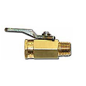 Ball Valve, 1/4 in. MPT Outlet x 1/4 in. FPT Inlet - Ball Valve 1/4 MPT Outlet x 1/4 inch FPT Inlet. 1/4 turn single-direction-flow ball valve with brass body, PTFE seat, buna-n-seal, plated handle. Approved for Natural and LP Gas. Price/Each.