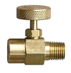 Propane Torch Flame Adjusting Valve, 1/4 in. - Propane Torch Flame Adjusting Valve. 1/4 MPT x 1/4 FPT (standard Right-Hand Threads), All Brass. Price/Each.