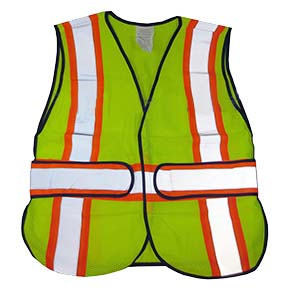 Safety Vest, WCCL2LA Class-2, Lime Mesh, Silver/Orange Stripes, 3XL (1) - Safety Vest, WCCL2LA-1 Class-2. WASHABLE, Soft Fluorescent Lime Fabric. 2 in. reflective silver over 3 in. orange striping. Meets ANSI/ISEA 107 / EN471 Standards (Public Safety Grade). Adjustable/Multi-Size XL-3XL. Price/Each.
