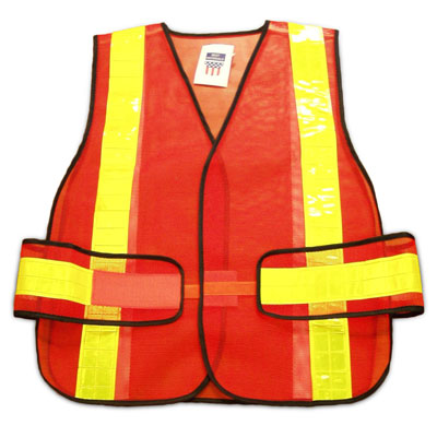 Safety Vest, Class-2 Orange Mesh, 2 in. 360 Degree Reflective, S-XL - Safety Vest, Premium-Grade ANSI/ISEA Class-2 Adjustable, Orange Mesh with 2 in. Wide 360 Degree Lime-Yellow Reflector Stripes. Adjustable, fits S-XL. Individually packaged. Price/Vest. SUPER SALE !!