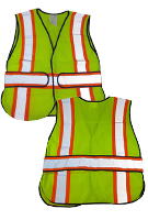 Safety Vest, WCCL2LA Class-2, Lime Mesh, Silver/Orange Stripes, 3XL (1)