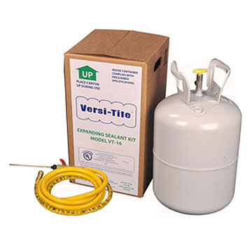 Versi-Tite Expanding Foam Sealant, 16 lb. Tank, Hose/Wand - Versi-Tite Expanding Polyurethane Foam Sealant UL Rated and with flame retardant. 16 lb. Tank with 9.5 foot Hose and Dispensing Wand. Price/Tank. (hazmat; UPS Ground Shipment Only; shipping leadtime 1-2 weeks)