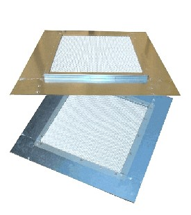 20 in. X 20 in. Fire Stopping Vent Base Flashing - VULCAN 20 in. X 20 in. FIRE STOPPING DORMER VENT BASE FLASHING, 100 Sq Inches NET FREE-VENTING. PRICE/EACH.
