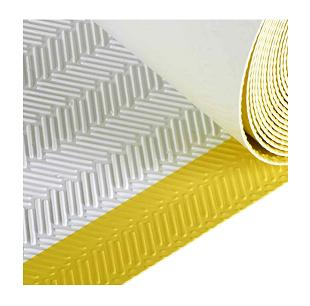 Tpo Walkway Pad White W Yellow Border Herringbone 30in