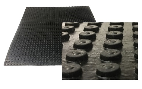 Roof Walkway / Protection Pad, Black EPDM, 30x30 in., HEAVY DUTY Grade - Roofing Walkway / Protection Pad. 30x30 inch Black EPDM roofing walkway pad, HEAVY DUTY grade with 1/2 inch round cleats. Pad has 0.25 inch base thickness with 0.13 raised pattern, 3/8 in. overall. 9-lbs each. Price/Each. (ship leadtime 1-3 business days)