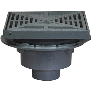 Large Area Roof Drain, 12-3/4 Sq. Promenade Top (specify OUTLET) - Watts RD-100-CP, Large Area Promenade Top Roof Drain, Cast Iron, Flashing Clamp with Integral Gravel Stop. 12-3/4 x 12-3/4 inch square Adjustable Epoxy Coated Cast Iron Promenade Top, No Hub Outlet. Price/Each. (specify Outlet Size before adding to cart)