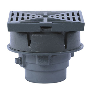 Small Area Roof Drain with 8 in. x 8 in. Promenade Top - Watts RD-200-CP, 8x8 Promenade Top Cast Iron Roof Drain with flashing clamp/integral gravel stop, 8x8 in. (203 x 203mm) square epoxy coated cast iron promenade top, no hub (standard) outlet. Price/Each. (select OUTLET SIZE before adding to cart)