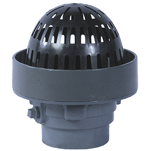 Small Area Roof Drain, Ext. 2 In. Overflow, Select OUTLET - Watts RD-200R, Small Area Overflow Roof Drain. Epoxy Coated Cast Iron Drain, Integral 2 in. Tall External Water Dam, Flashing Clamp Ring, 8-Inch Polyethylene Dome, No-Hub (standard) Outlet. Price/Each. (Select OUTLET SIZE before adding to cart)