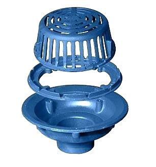 Zurn Z121 Roof Drain, Cast Iron Dome, No-Hub 6 in. Outlet - ZURN Z121 12 in. Roof Drain, Low Profile 4-3/8 in. High Dura-Coated Cast Iron Dome, Dura-Coated Cast Iron Body, Gravel Guard/Clamp, No-Hub 6 in. Outlet. Price/Each.