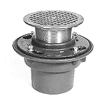 Zurn Z415B 5 inch Round HD Floor/Shower Drain w/B-Strainer, SPECIFY OUTLET, - Zurn Z415B Heavy Duty Floor / Shower Drain. Cast Iron Body, Clamping Color, 5 in. Round Head, Heavy-Duty Type-B Strainer in Polished Bronze, SPECIFY OUTLET. Price/Each. (Specify Outlet before adding to cart; special order; 1-week leadtime)