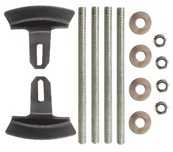 Zurn Underdeck Clamp Kit for Z100 (2-5 in. size) - Zurn Underdeck Clamp Kit for Z100 Drains with 2-5 inch outlets. Includes 2 Clamps, 4 bolts, 4 washers, 4 jam nuts all in 3/8 inch size. Price/Kit. (ship leadtime 1-3 business days)
