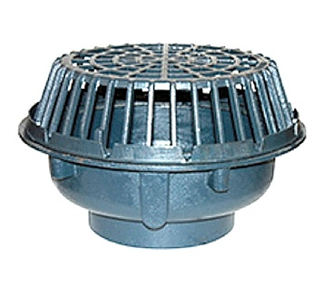 Zurn Z101 20 in. Main Roof Drain, Cast Iron (specify OUTLET) - ZURN Z101 20 inch Main Roof Drain, Dura Coated Cast Iron with Low Profile Cast Iron Dome and Clamping Ring. No-Hub Outlet. Price/Each. (specify OUTLET size before adding to cart; shipping leadtime 5-10 days)