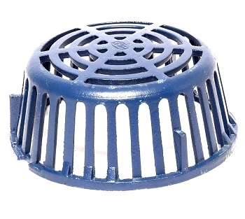 10 in. Cast Iron Replacement Drain Dome, Zurn Z121 - 10 inch OD x 4-3/8 inch High Cast Iron Low-Profile Replacement Drain Dome. ZURN #56587. fits ZURN Z121/Z111 12 inch drains. Blue Dura Coated finish. Price/Each.