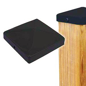 "Cap 44, Deck/Fence Post Top Cover, 4x4, BLACK color (48) - Cap 44, Deck/Fence Post Top Cover, 4x4, BLACK color. Powder coated steel. Fits 4x4 (3.5x3.5"" actual size) Posts. 48/Box. Price/Box. (Lead-time 2-4 Business Day; UPS Ground Shipping Only; Not Returnable)"