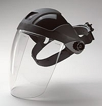 Face Shield & Headgear, High Impact, Ratchet Adjustable - <strong>This item is currently unavailable. </strong>POLYCARBONATE FACE SHIELD, HIGH IMPACT, WITH RATCHET ADJUSTABLE HEAD-GEAR. (ERB E12). PRICE/EACH.
