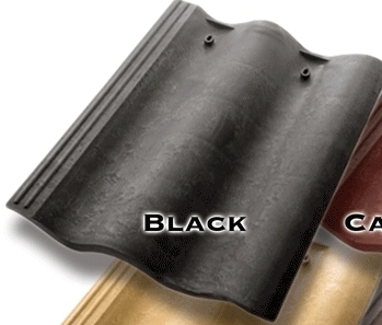 Synthetic Mission Roof FIELD Tiles, BLACK (1) - Quarrix Composite Mission / Spanish Roofing FIELD Tiles (Double Roman), BLACK (charcoal) Color. Price/Tile. (special color; leadtime 1-3 weeks)